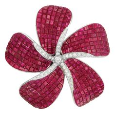 18k White Gold, Invisibly-Set Ruby And Diamond Flower Clip/Brooch - Doyle New York