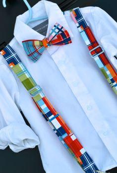 Madras Plaid Bowtie & Suspender Set - Baby / Toddler / Child.  www.idresstothrill.com