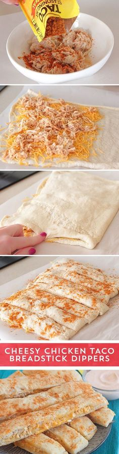 Need a last minute snack for game day? These Cheesy Chicken Taco Breadstick Dippers from @Jenny Flake, Picky Palate are the perfect dish to share! Shredded chicken spiced with Old El Paso™ Taco Seasoning layered with cheese and baked into pizza dough - these snack sticks couldn't be easier to make! They are ready to eat in just 30 minutes - serve with seasoned sour cream for the perfect pairing!