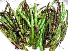 Roasted Green Beans - I put them in a ziplock bag to coat with olive oil. Laid them out on a stone sheet and sprinkled Kosher salt and ground pepper. Cooked on 425 degrees for 20 minutes.