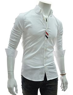 (FLS146-WHITE) Slim Fit Chest Stripe Patched Stretchy Long Sleeve Shirts