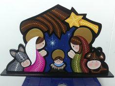 Pesebre en puntillismo Nativity Crafts, Christmas Nativity, Christmas Art, Christmas Holidays, Christmas Gifts 2016, Kirby Character, Christmas Yard Decorations, Dyi Crafts, Dot Painting