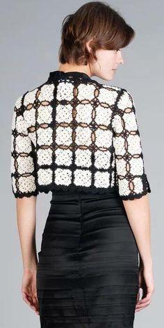 ergahandmade: Crochet Bolero + Diagrams - New In Tops Crochet Coat, Crochet Shirt, Crochet Jacket, Crochet Cardigan, Crochet Clothes, Crochet Shrugs, Crochet Sweaters, Crochet Bolero Pattern, Mode Crochet