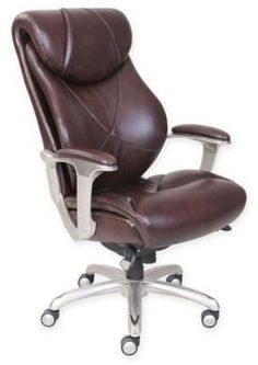 La-Z-Boy® Cantania Leather Executive Office Chair in Coffee