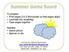"""Summer Game Board - Simple 'wh-' question game board with a summer theme. """"Wh-"""" questions related to preparing for summer, and what one might do during summer.    - repinned by @PediaStaff – Please Visit ht.ly/63sNtfor all our pediatric therapy pins"""