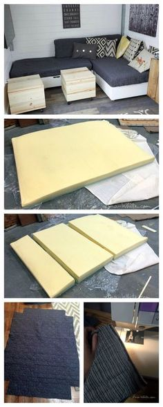 make cushions from foam mattresses and coverlets