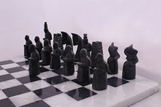 RADICALn 16 Inches Handmade Black and White Hand Crafted Marble Chess Game Set by RADICALn ** You can get more details by clicking on the image.