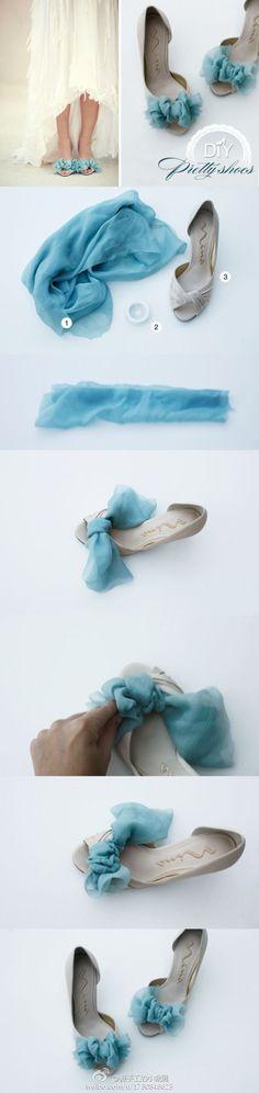 Chiffon bows for peep toe shoes.