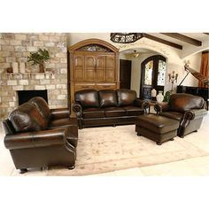 Ellis Top Grain Leather Living Room Set Multi Toned BrownSofa, Loveseat,  Chair And OttomanHand Stitched PipingAntique Nailhead TrimBy Abbyson Living®