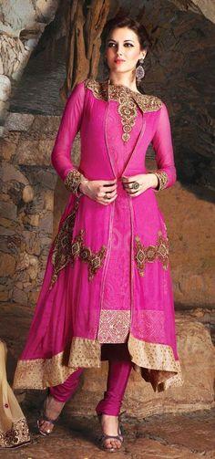 $117.16 Pink Embroidered Anarkali Salwar Suit 24856