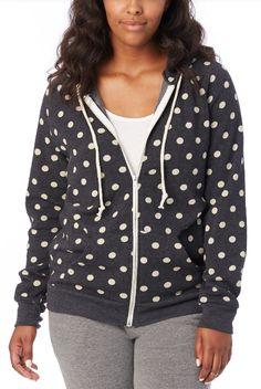 Adrian Printed Eco-Fleece Zip Hoodie from Alternative Apparel // Black and white polka dot hoodie