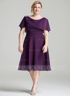 A-Line/Princess Cowl Neck Knee-Length Beading Sequins Cascading Ruffles Zipper Up Sleeves Short Sleeves No 2016 Grape Spring Summer Fall General Plus Chiffon Mother of the Bride Dress