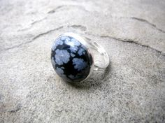 Snowflake Obsidian Ring Black Obsidian Ring by CaravanOfBeads, $22.00