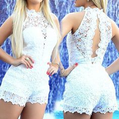 Graceful Round Collar Sleeveless Backless White Lace Romper For Women  > > ---- > > If someone who has 10000+ followers repins this pin, I will give him surprise as a gift. If you did, Please tell me. email: jasonweijian@gmail.com