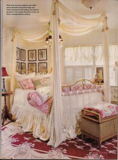 It has the look of a canopy bed, even though it's not. It's gauze draperies hung from a large hook attached to the ceiling. Shabby Chic Bedrooms, Guest Bedrooms, Shabby Chic Decor, Dream Bedroom, Girls Bedroom, Bedroom Decor, Bedroom Ideas, Bedroom Bed, Bed Ideas
