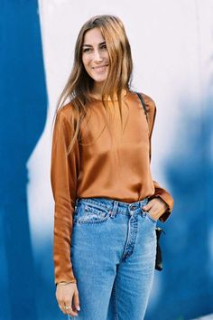 Pair a satin top with high-waist denim for an effortlessly cool and totally on-trend look