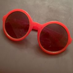 Red circle Sunnies Summer accessory. Perfect for a quick touch to a look. Plastic. Never worn. Accessories Sunglasses