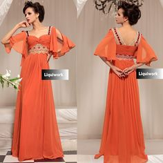 Vintage Style Orange Masquerade Evening Ball Gowns Dresses with Sleeves SKU-122681