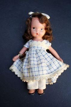 Vintage Nancy Ann All Bisque Storybook Doll #109 – Little Betty Blue NASB