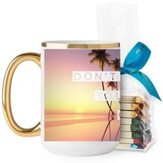 Chase Your Dreams Mug, Gold Handle, with Ghirardelli Assorted Squares, 15 oz, White