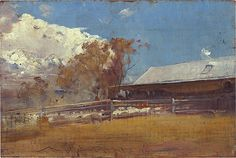 Tom Roberts. Shearing shed, Newstead 1893-94, oil on wood panel