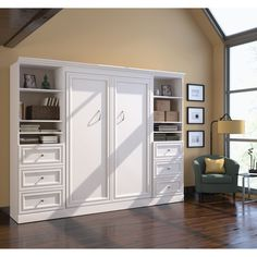 Bestar Audrea Full Wall Bed with Two 25  Storage Units and Drawers in White & An office system with a built in murphy bed.(files in window seat ...