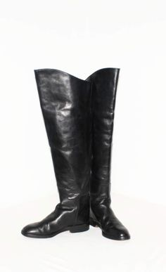 bc0254618ae Vintage DONNA KARAN New York Black Leather Tall Riding Boots OTK Cuff 8