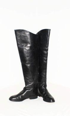 bc0254618ae Vintage DONNA KARAN New York Black Leather Tall Riding Boots OTK Cuff 8
