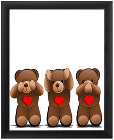 See no evil, hear no evil, speak no evil. Teddy bear cartoon drawing with hearts. Three Wise Monkeys, Teddy Bear Cartoon, See No Evil, Baby Carriage, Baby Family, Cartoon Drawings, Word Art, Painting & Drawing, Digital Art