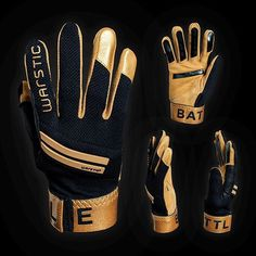 Special Edition Gold Workman Batting Gloves || ✔️ Reinforced leather palm construction. ✔️ Protective rubber Warstripes on back of hand. ✔️ Sticky black palm and finger grips. ✔️ Available in adult and youth sizes. Double-tap if you'd wear them! #warstic #battinggloves #baseball #baseballbat Softball, Baseball, Back Of Hand, Batting Gloves, Double Tap, Palm, Finger, Youth, Construction