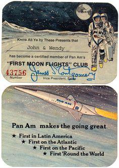 """First moon flights"" club membership card 1969"