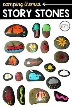 Use these homemade, camping-themed story stones as a teaching tool in your writing center! These are perfect for kindergarten, first grade or second grade. #kindergartenwriting #firstgradewriting Kindergarten Writing Activities, Literacy, First Grade Writing, Story Stones, Using Acrylic Paint, Camping Crafts, Confidence Building, Teaching Tools, Crafts To Do