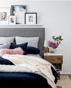 Pale grey walls and darker grey head board. I like this better than dark walls and white sheets