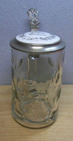 Vintage Glass Beer Stein Silver Wedding #BT