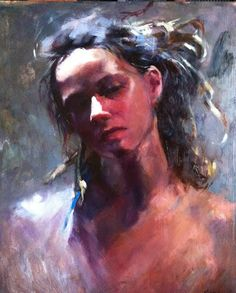 Oil Painting Portrait on Panel, The Woman with Dreads by Kristina Laurendi Havens