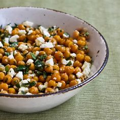 Recipe for Garlicky Roasted Chickpeas (Garbanzo Beans) with Feta, Mint, and Lemon