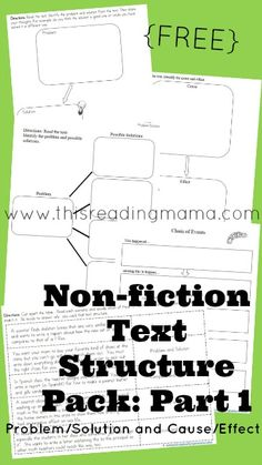 Text Structure: Problem/Solution and Compare/Contrast Non-fiction Text Structure Pack for Problem/Solution and Cause/Effect ~ Free Graphic Organizers for teaching comprehension Reading Lessons, Reading Strategies, Reading Skills, Teaching Reading, Reading Comprehension, Guided Reading, Math Lessons, Spanish Lessons, Teaching Spanish