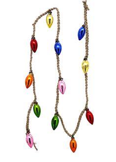 Mini Multicolor Mercury Glass C7 Ornament Bulb Rope Christmas Tree Garland