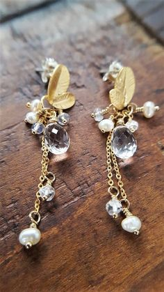 Gold And Pearl Earrings Real Rock Crystal Real Moonstone