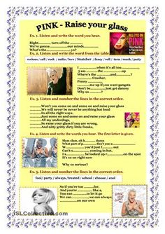 This worksheet is on listening. It is based on a very popular song. Students love listening their favoutrite song so this will be very nice for them. The worksheet. Listening English, English Reading, Teaching English, Learn English, English News, Teaching Aids, Teaching Tools, Pink Song Lyrics, Texts