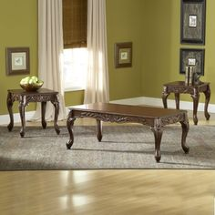 Carved Cherry Coffee Table Set by Serta Upholstery , Occasional Table Sets - Serta Upholstery, My Furniture Place Cherry Coffee Table, 3 Piece Coffee Table Set, Coffee And End Tables, Furniture Styles, Table Furniture, Living Room Furniture, Pc Table, Wood Table, Coffee Table Dimensions