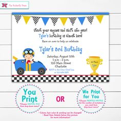 Race car birthday party invitation -- racing birthday party - race cars - race car by TheButterflyPress on Etsy https://www.etsy.com/listing/165859323/race-car-birthday-party-invitation