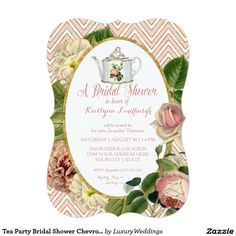 Tea Party Bridal Shower Chevron Stripes Rose 5x7 Paper Invitation Card