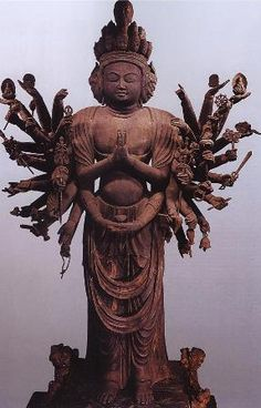 Japanese National Treasure, Standing Statue of Senju Kannon 千手観音立像(法性寺) Sculpture Art, Sculptures, Mahayana Buddhism, Japanese Monster, Buddhist Art, Sacred Art, Ancient Art, Deities, Japanese Art