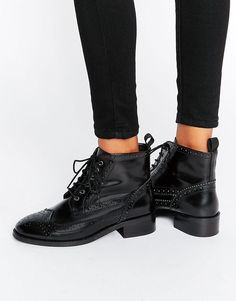 ASOS ARTISTRY Leather Lace Up Brogue Boots SIZE 5