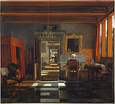 Emanuel De Witte, Interiors with a woman playing a harpsichord