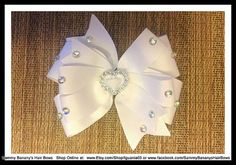 Pretty in Bling White Hair Bow by Sammy Banany's Hair by iguania03, $9.99
