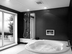 Badezimmer Schwarz Weiß Grauer Whirpool