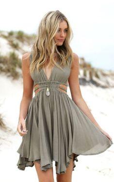 Gray Boho Dress