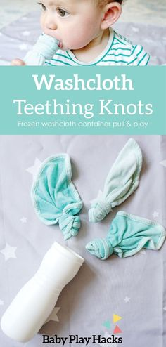 Washcloth teething knots ! This is a really easy method to soothe those sore gums and give baby a chance to have fun and develop fine motor skills. Diy Sensory Toys For Babies, Baby Sensory, Old Baby Clothes, Recycle Old Clothes, Baby Play, Toddler Play, Baby Teething Remedies, Teething Babies, Teething Relief